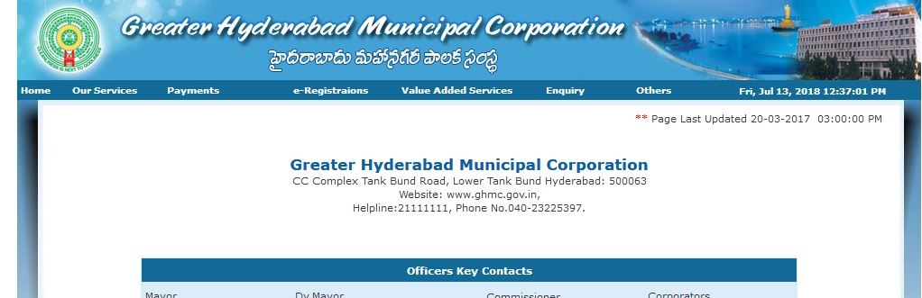 GHMC Hyderabad Customer Support Number : Greater Hyderabad